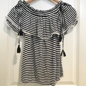 LOFT Striped Off-shoulder Top